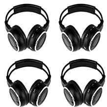 """Four Pack of Two Channel Folding Adjustable Universal Rear Entertainment System Infrared Headphones With 4 Additional 48\"""" 3.5mm Auxiliary Cords Wireless IR DVD Player Head Phones for in Car TV Video Audio Listening"""