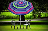 AMMSUN 6.5 ft Beach Umbrella with Tilt Aluminum Pole Separate Sand Anchor, Portable Windproof Beach Umbrella with UPF50+ Protection, Carry Bag Included Patio Umbrella(Green Stripe)