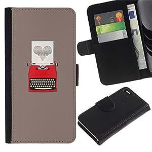 KingStore / Leather Etui en cuir / Apple Iphone 4 / 4S / Escritor gris del corazón escritura Amor