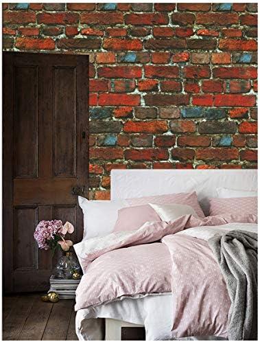 Dwind 80024 PVC 3dレンガの壁紙 0.53 x 10M 取り外し可能な壁紙寝室のリビングルームキッチンの家の壁の装飾(赤/青)防水