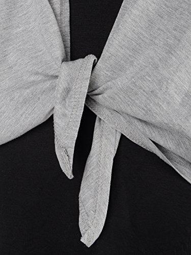 Jacke mit Anna Kaci Hülsen Spalte Kleid ärmel M Schwarz Grau Fit Flügel S x7Fq84R