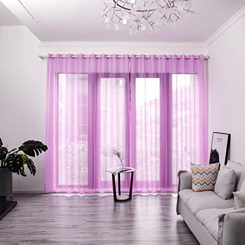 OrchidAmor Leaves Sheer Curtain Tulle Window Treatment Voile Drape Valance 1 Panel Fabric 2019 ()