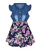 YJGWL-Girls-Dresses-Denim-Floral-Swing-Skirt-Belt-Girls-Fahion-Clothes