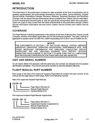 CESSNA CITATION MUSTANG Flight Manual CESSNA Books