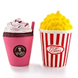 WATINC 2Pcs Cute Squishy, Kawaii Pop corn&Red cream Scented Slow Rising squishy, Kid Toy, Lovely Toy,Stress Relief Toy,Decorations Toy Gift Fun (pop corn&red cream)