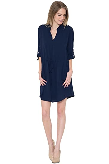 2LUV Women s 3 4 Sleeve Button Detail Woven Shirt Dress Navy S (WD17119Q)  at Amazon Women s Clothing store  157760d0d