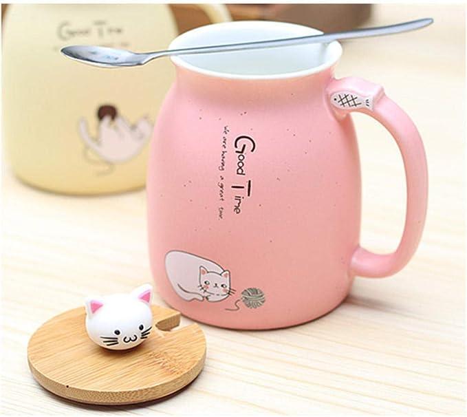 360ml Cartoon Cat Fish Ceramic Mug with 3D Cat Lid/& Spoon Milk Coffee Tea Cup