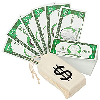 Play Money for Kids - 300-Piece Learning Money with Canvas Bag - $9300 in Pretend Play Counting Money - Great for Schools, Learning to Count, Pretend Grocery Stores, 50 Pieces of Each Denomination: Toys & Games