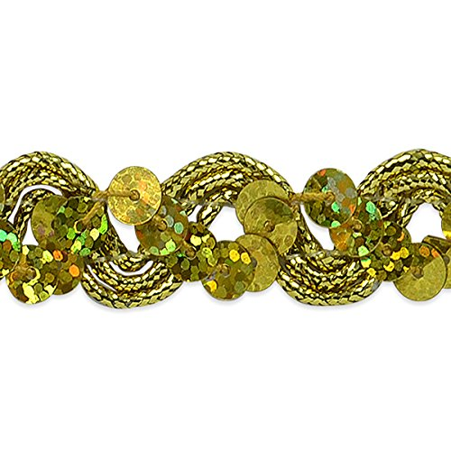 Expo International Reba Ric Rac Sequin Braid Trim Embellishment, 20-Yard, Gold (Rick Metallic Rack)