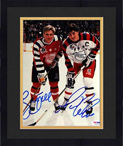 - Framed Mario Lemieux & Brett Hull Autographed 8x10 Photo #S50581 - PSA/DNA Certified - Autographed NHL Photos