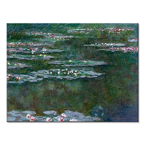 Wieco Art Water Lilies Canvas Prints Wall Art Pictures of Claude Monet Famous Flowers Oil Paintings for Bedroom Bathroom Home Office Decorations Modern Stretched and Framed Floral Giclee Artwork