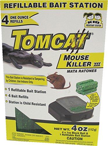 Motomco Tomcat Mouse Killer III Refillable Mouse Bait Station, 4-Pack (Tomcat Motomco Mice)