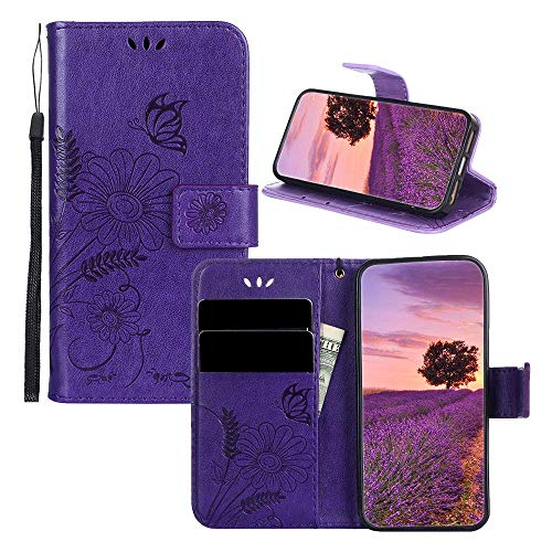 Flowers PU Leather Wallet Case iPhone 4S IVY [Embossed Series][Butterflies and Ants] with Wrist Strap Folio Cover for iPhone 4 - Purple