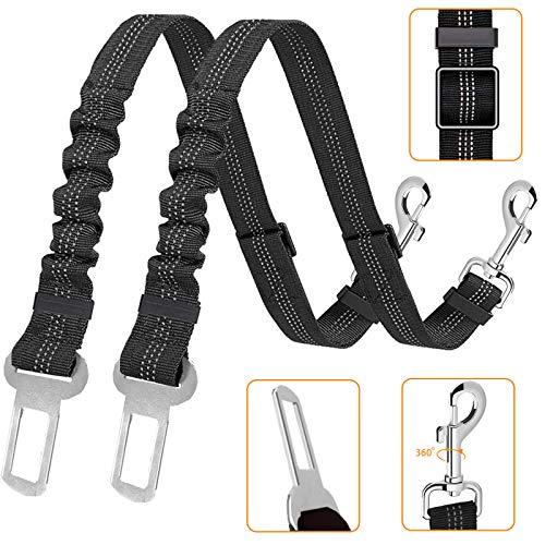 Kelivi Perro Cinturón de Seguridad, 2 Unidades Cinturones de Seguridad Ajustables para Perro, Elástico para Mascotas Correa de Nailon Reflectante Sesistente para Cinturón de Seguridad para Perro