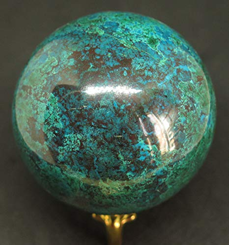 Shining Stones Gifts 67mm 1lb 0.5oz Natural Blue Chrysocolla Crystal Sphere Ball w/Stand, Collection, Gift, Reiki, Home Decor.