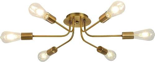 Sputnik Chandelier Flush Mount Ceiling Light Brushed Brass Finish Mid Century Modern Pendant Lighting 6 Light