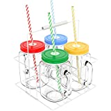 'Vremi 16 oz Mason Jars with Handles Lids and Straws - 4 Piece Wide Mouth Mason Jar Mugs Set with Colored Metal Lids and Holder - Decorative Clear Glass Tumblers Set with Mason Jar Accessories' from the web at 'https://images-na.ssl-images-amazon.com/images/I/51qJMZm65UL._AC_SR160,160_.jpg'