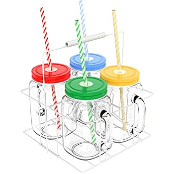 Vremi 16 oz Mason Jars with Handles Lids and Straws - 4 Piece Wide Mouth Mason Jar Mugs Set with Colored Metal Lids and Holder - Decorative Clear Glass Tumblers Set with Mason Jar Accessories