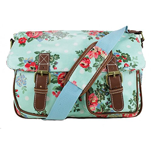 Miss Lulu - Oilcloth Satchel Bag - Dot Flower Floral Print
