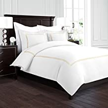 Beckham Hotel Collection Luxury Soft Brushed 2100 Series Embroidered Microfiber Duvet Cover Set with Beautiful 2-Stripe Embroidery - Hypoallergenic -Full/Queen - White/Gold
