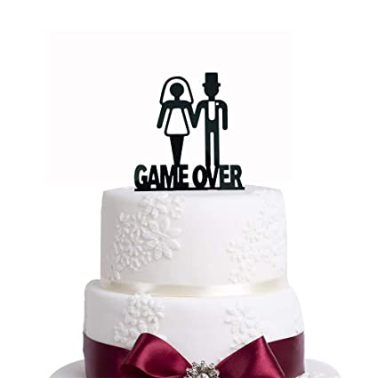 Funny Wedding Party Decor GAME OVER Cake Topper