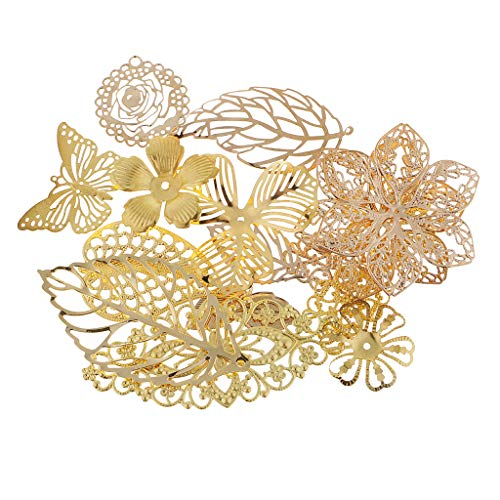 - SM SunniMix 17 Pieces Mixed Metal Filigree Leaves Flower Charms Jewelry Pendant Findings Decorative Accessories for DIY Necklace Bracelet Earrings