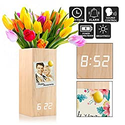 Oct17 Wooden Alarm Clock, Magnetic Wood Alarm Clock Voice Control Electric Smart LED Travel Digital Desk Clock Modern Vase - Wood with White Light