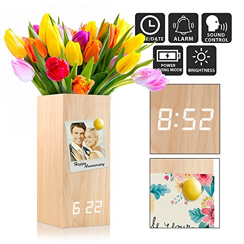 Oct17 Wooden Alarm Clock, Magnetic Wood Alarm Clock Voice Control Electric Smart LED Travel Digital Desk Clock Modern Vase - Wood with White Light (Travel Alarm Clock Photo)