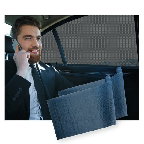 Car Window SunShade (2 pack) Shield Your Baby from Sun, Glare, UV & Heat - Kids Fun Shade is Driver & Tint Safe. Vinyl Mesh Superior to Cling, Suction, Sox - Shades Tints