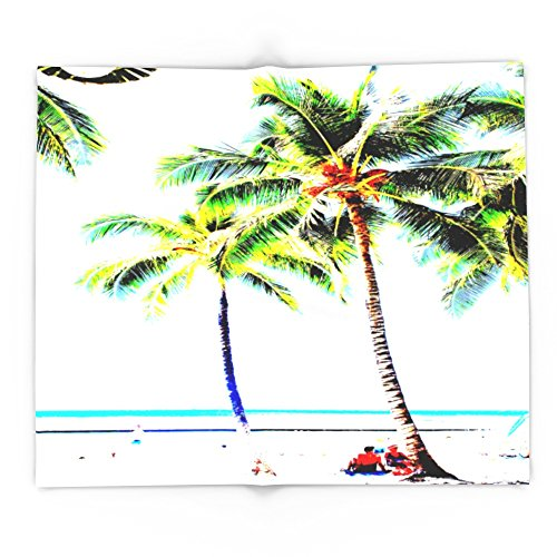 Society6 Vintage Palm Tree With Hawaii Summer Sea Beach 88'' x 104'' Blanket by Society6