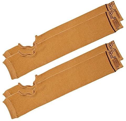 SecureSleeves® (2 Pairs) Geri Sleeves for Arms, Brown - Protects Sensitive Skin from Tears & Bruising (Large: 16.5
