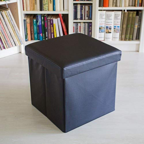 Relaxdays Puff Almacenaje Cuadrado con Tapa, Piel Sintetica, Negro, 38 x 38 x 38 cm