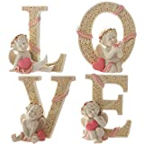 KiaoTime Set of 4 Decorative Angel Figurine Cherub Figurine Statue Pink Heart LOVE Figurine Home Wedding Collectible Figurine Christmas Gift
