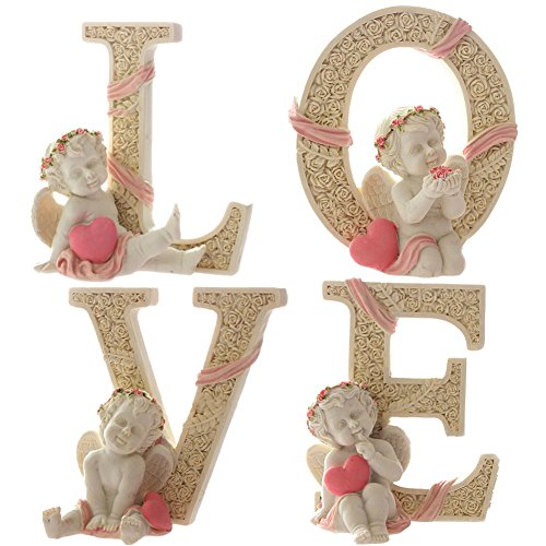 KiaoTime Set of 4 Decorative Angel Figurine Cherub Figurine Statue Pink Heart LOVE Figurine Home Wedding Collectible Figurine
