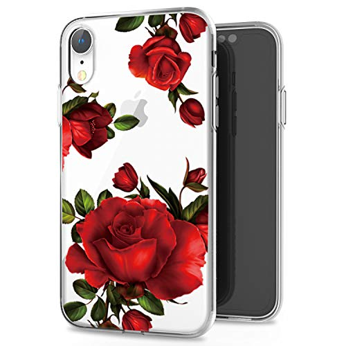 Red Roses Iphone - JAHOLAN iPhone XR Case Clear TPU Soft Slim Flexible Silicone Cover Girls Flower Design Cute Phone Case for iPhone XR - Red Rose