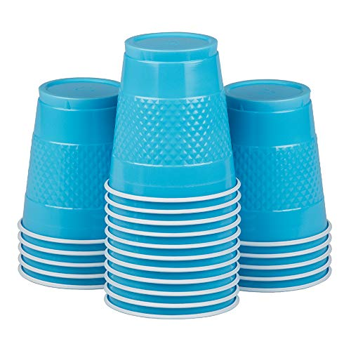 (JAM PAPER Plastic Party Cups - 12 oz - Sea Blue - 20 Glasses/Pack )
