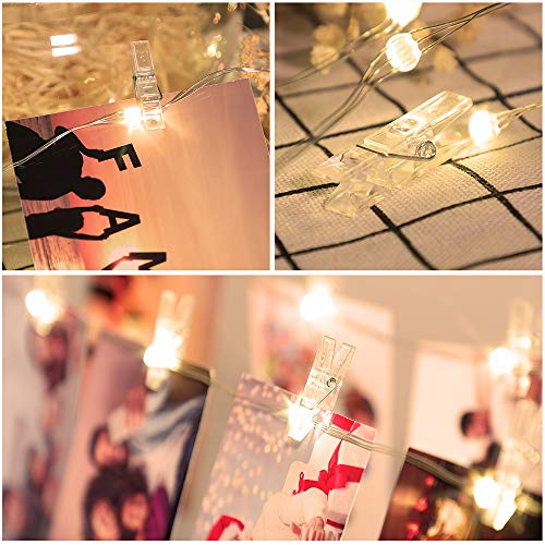 LED Photo Clip Color Changing Lights,16.4ft 50 LED 10 Colors Starry String Lights Battery & USB Powered with Remote for…