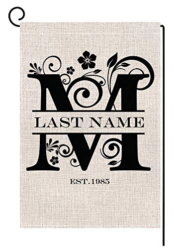 Personalized M Monogram Small Garden Flag Vertical Double Sided 12.5 x 18 Inch Custom Last Name Burlap Yard Outdoor Decor Housewarming Gift Wedding Gift