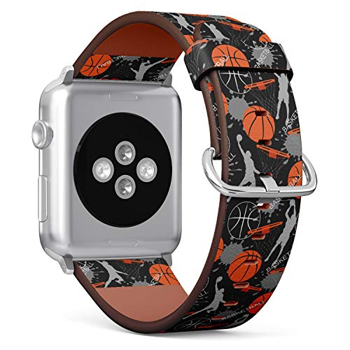 (Basketball Paint Splash Pattern) Patterned Leather Wristband Strap for Apple Watch Series 4/3/2/1 gen,Replacement for iWatch 42mm / 44mm Bands