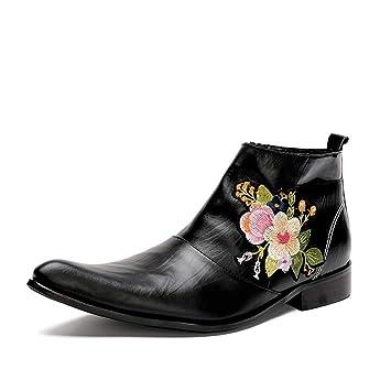 ZPL Boots Hombres Botines Botas De Vaquero Clásico Negro Cuero Zapatos Flor De Bordado Noche Fiesta Tamaño 39-46 UE: Amazon.es: Deportes y aire libre
