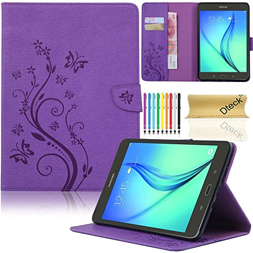 Galaxy Tab A 8.0 2015 Case, SM-T350 Case, Dteck(TM) Slim Fit Protective Synthetic Leather Stand Case [Card Slot] Flip Wallet Pocket Cover with Magnetic Buckle for Samsung Galaxy Tab A 8.0(04 Purple)