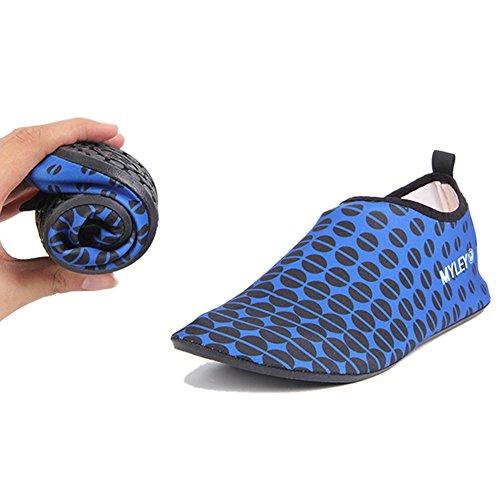 Barerun Barfuß Quick-Dry Frauen Männer Wasser Schuhe Haut Aqua Socken für Schwimmen Beach Pool Surf Yoga Sport Übung Dot Blau