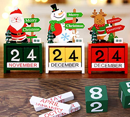 Perpetual Calendar Blocks Wooden,Christmas Advent Calendar 2019 Gift, Santa Claus Snowman Elk Festival Calendar Countdown,DIY Yearly Planner Calendar Office Desktop Craft Decoration (3 Pack)