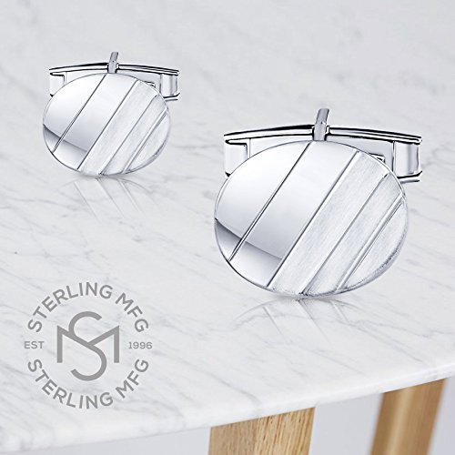 Men's Sterling Silver .925 Oval Striped Design Cufflinks with Satin Finish. Made In Italy. By Sterling Manufacturers by Sterling Manufacturers (Image #7)