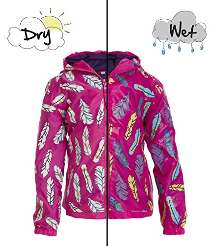 Girls Feather Patterned Colour Changing Raincoat by Holly & Beau – Children's Pink Waterproof Coat that Changes Colour in the Rain - Age - Raincoat Patterned