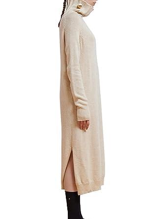 9ec93907e4 Mantos Eternity Women's Turtleneck Split Long Sleeve Maxi Knit Sweater Dress  at Amazon Women's Clothing store: