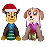Gemmy Airblown Inflatable Paw Patrol Chase w/Christmas Tree 4.5 ft Tall and Paw Patrol Skye w/Present 4ft tall by Gemmy Industries Indoor/Outdoor Decoration, Includes 2 Inflatables