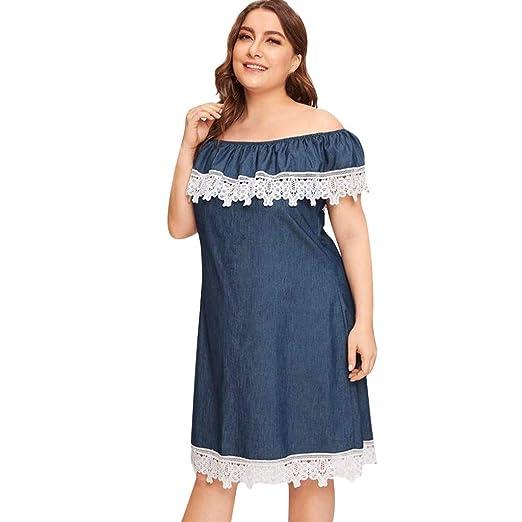 Amazon.com: Women Off Shoulder Denim Dress, Plus Size ...