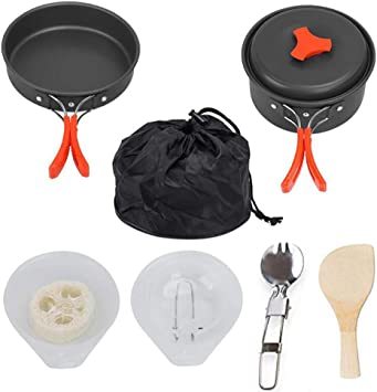 Lightweight N2 Camping Cookware Mess Kit Compact Durable Pot Pan Bowls with Free Folding Spork and Nylon Bag Backpacking Gear and Hiking Outdoors Bug Out Bag Cooking Equipment 10 Piece Cookset
