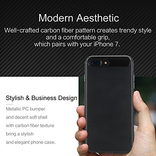 ROCK ''Vision'' iPhone 7 Plus Harte TPU + PC Hülle Bumper Case Schutzhülle Tasche Shell-Schutz für Apple iPhone 7 plus- jet schwarz